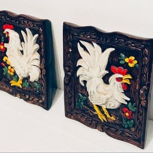 Pair of Vintage 70s Ceramic Rooster Wall Hangings